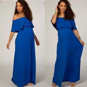 Pinkblush Royal Blue Off Shoulder Maternity Dress